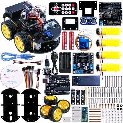 Una descrizione di Elegoo Arduino UNO Progetto di una Piccola Robot Auto Car V1.0 con Tutorial in Inglese con UNO R3, Modulo Segui Linea, Sensore a Ultrasuoni, Modulo Bluetooth ecc., un kit educativo per principianti(bambini) per toccare con mano la programmazione arduino, assemblare ed avere conoscenze con I'elettronica. È una soluzione alternativa per imparare a creare dei robot con Arduino.