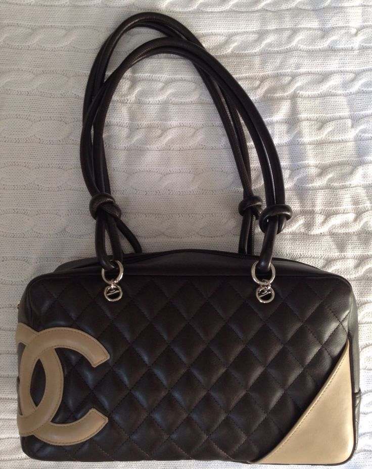 Vintage 1990s Chanel brown quilted leather bag with beige accents and logo