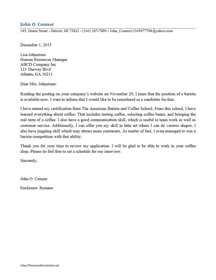 Cover letter template barista cover letter for resume