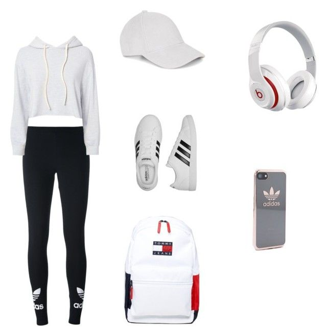 """""""White / Athletic Look🎾 #gymessentials"""" by alainamorgan on Polyvore featuring adidas Originals, Monrow, adidas, Tommy Hilfiger and Beats by Dr. Dre"""