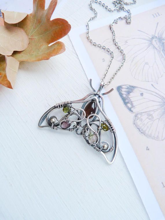 Smoky quartz butterfly nekalce - wire wrapped silver jewelry - luxury classic jewelry Romantic gift for her