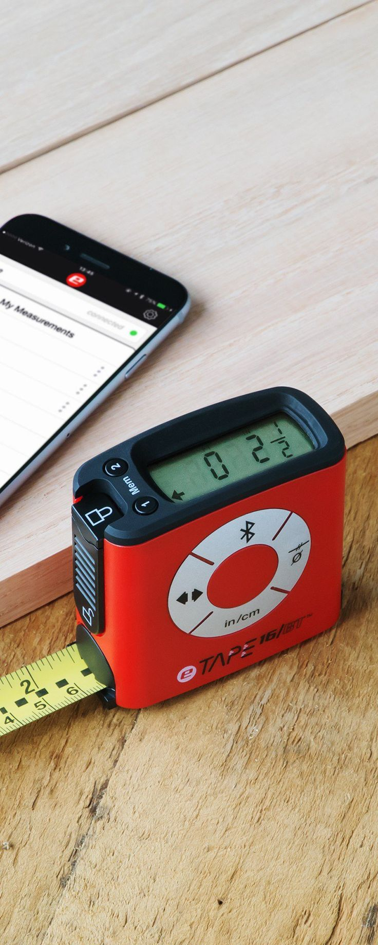 eTape16, discovered by The Grommet, is an easy-to-use physical measuring tape with digital readouts and functions.