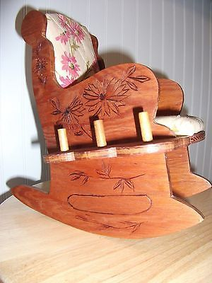 Vintage-Old-Carved-Wooden-Rocking-Chair-Pin-Cushion-Spool-holder-Sewing