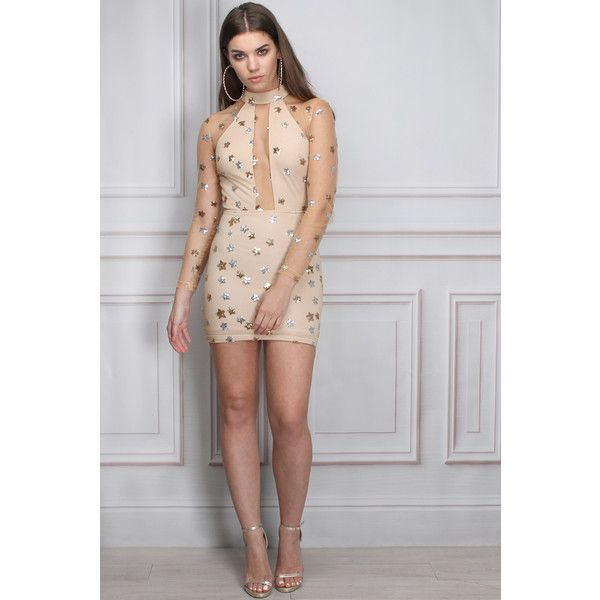Limited Edition Beige Mesh and Sequin Star Mini Dress (£55) ❤ liked on Polyvore featuring dresses, short cocktail party dresses, sparkly party dresses, sequined dresses, mini dress and party dresses