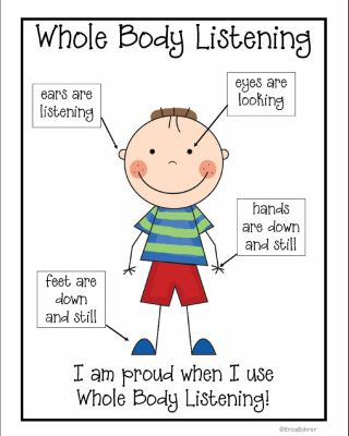 """Classroom Management Strategies: Whole Body Listening. **{{Use with book: """"Whole Body Listening Larry at School""""}}**"""