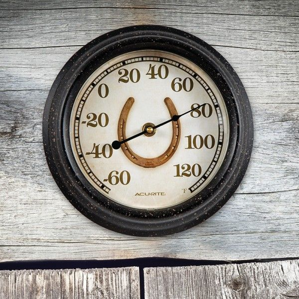 "8"" Horse Shoe Thermometer It's rustic design makes this thermometer a unique decorative accent for any space. Includes an integrated hang hole for easy mounting. Now available on AcuRite.com Model 02421"