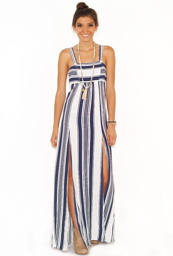Nautical Maxi Dress l Beachwear for Women l www.CarolinaDesigns.com