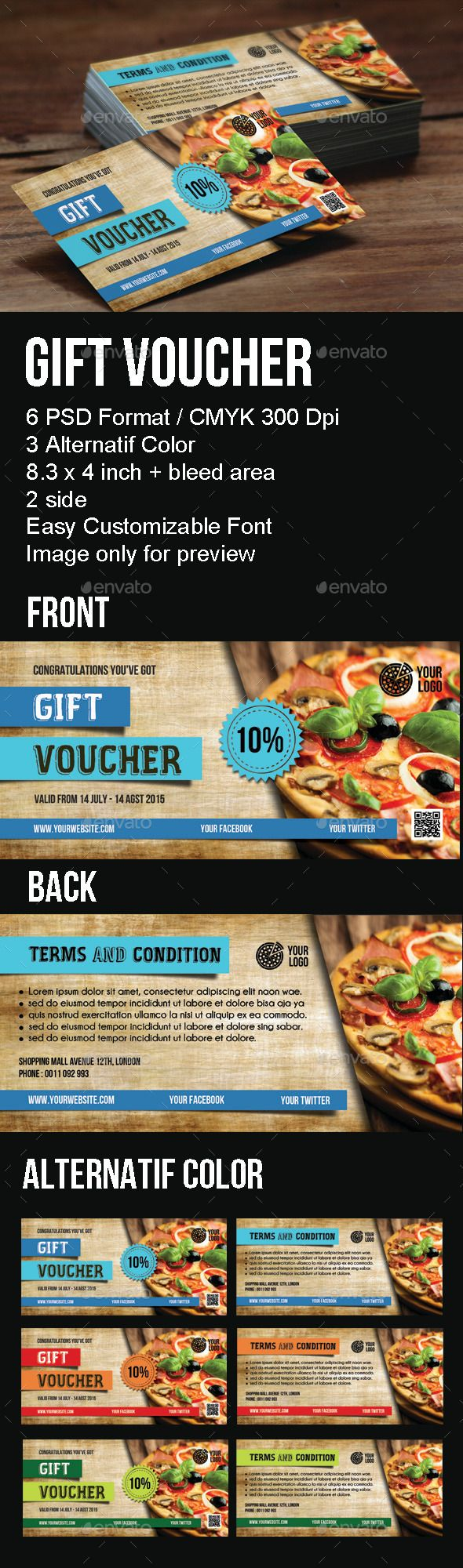 Gift Voucher Template #design Download: http://graphicriver.net/item/gift-voucher/12404702?ref=ksioks