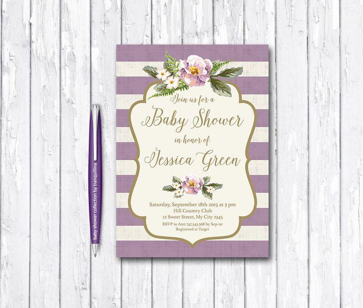Floral Baby Shower Invitation Printable, Lilac Birthday Invite, Digital File - Lavender Striped Invitation, Lilac Baby Shower - pinned by pin4etsy.com