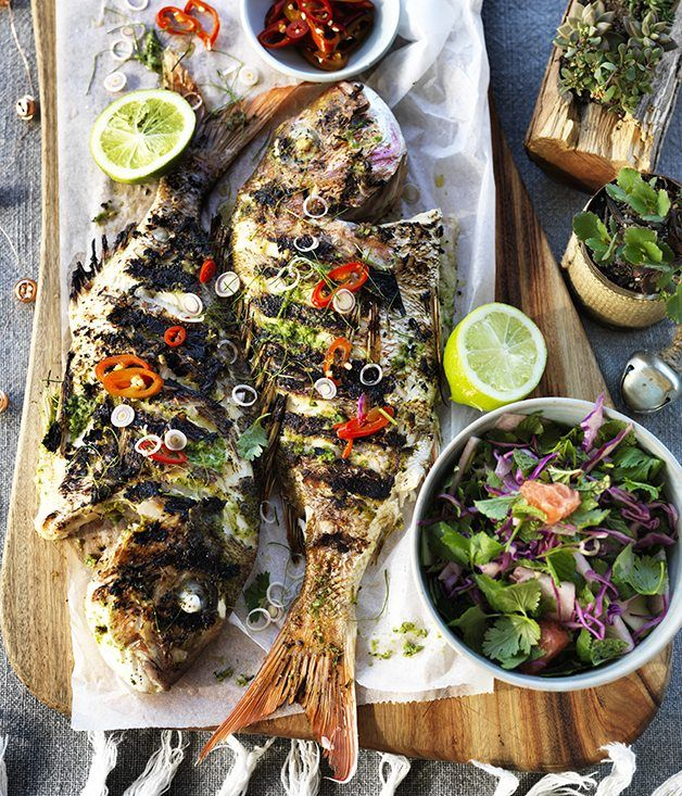 Barbecued Whole Snapper with Lemongrass and Lime Leaves - This dish is all about a flavour-packed paste, Ginger, garlic, coriander roots and loads of citrus - all smashed up together and spread over the fish. http://m.gourmettraveller.com.au/recipes/recipe-search/chefs-recipes/2016/3/barbecued-whole-fish-with-lemongrass-and-lime-leaves/
