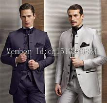 2015 heißer Verkauf 2 Farbe Bräutigam Smoking Stehkragen Groomsmen kleider Best Man Hochzeit Prom Abendessen Suits (Jacke + Pants + Weste + Tie)(China (Mainland))