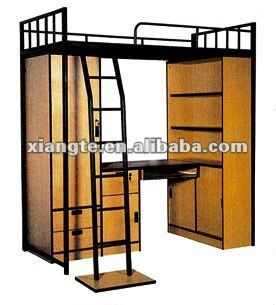 Fashionable Student dormitory metal bunk bed with locker and desk,college bunk bed with desk, wardrobe