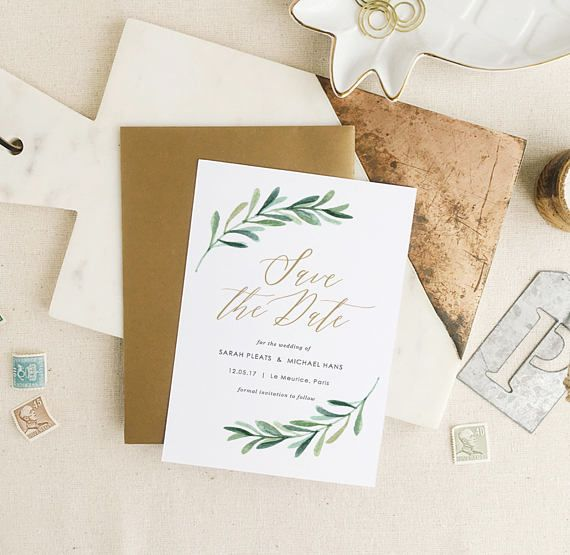 Greenery Save the Date Template  Printable Save the Date