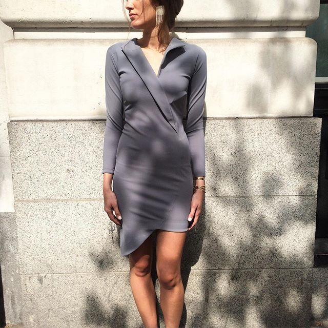 Our classic and delicate grey dress Dasha, styled elegantly with Mira Sadi Jewels. Only available at Shop Consept on 232 Kings Road!