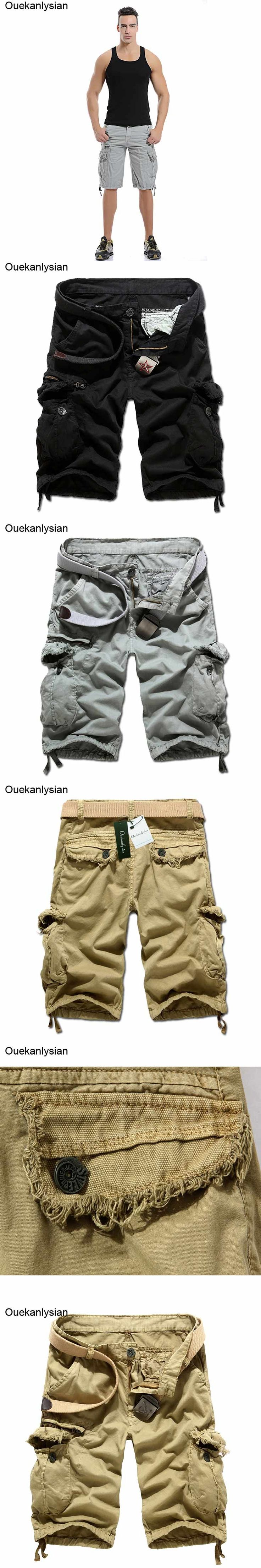 Ouekanlysian Multi Pockets Cargo Shorts Loose Casual Solid Bermuda Masculina Sportwear Overalls Pantaloncini Uomo Mma Shorts