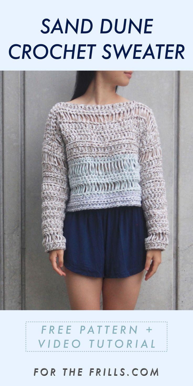 Sand Dune Sweater - padrão de crochê livre + tutorial em vídeo - para os folhos