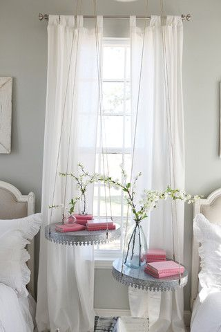 Love the hanging discs as side tables. HGTV Fixer Upper   Chip & Joanna Gaines   The Farmhouse   Magnolia Homes
