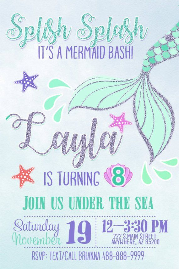 image relating to Printable Mermaid Invitations referred to as Mermaid Birthday Concept Invitation - Do-it-yourself Printable Mermaid