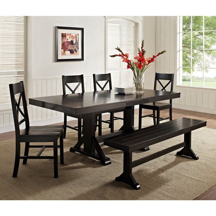 Walker Edison Black 6 Piece Solid Wood Dining Set with Bench - HN60W2BL