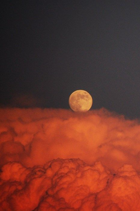 moon over red clouds