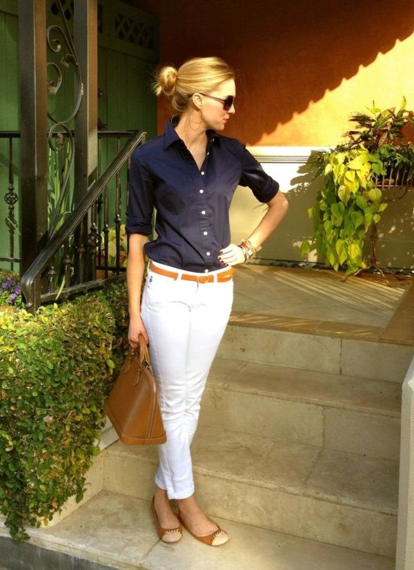 Dress up white jeans.