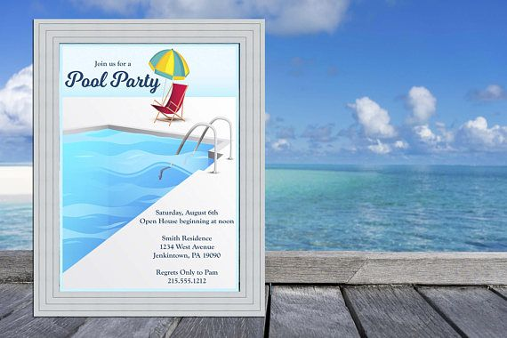 Pool Party Invitation / Swimming Pool Deck / Pool Party