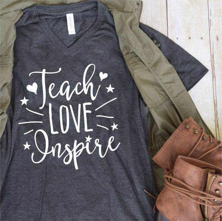 Custom teacher shirt with htv by TheCustomStudioShop on Etsy https://www.etsy.com/listing/463318516/teach-love-inspire-teacher-tee-t-shirt