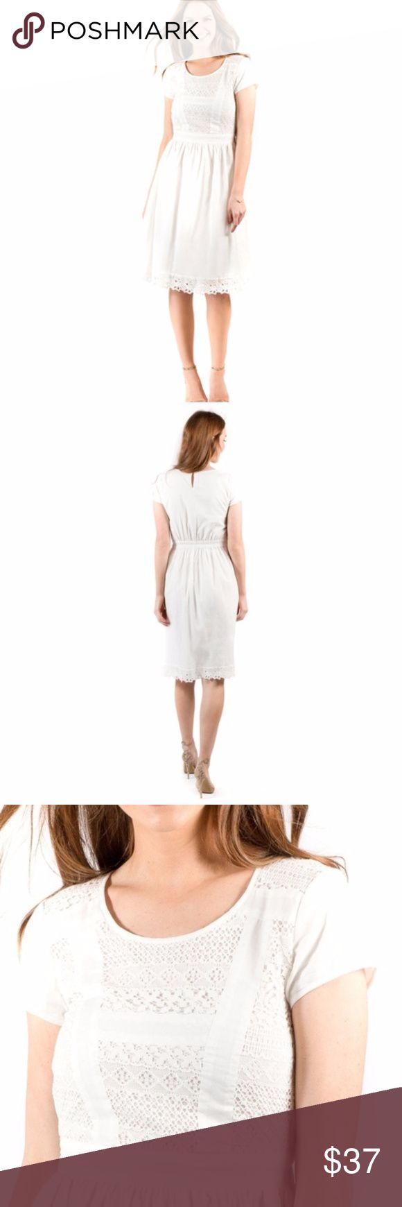 Downeast White Cotton Dress Like new, very cute fit and flare dress with an elastic waistband in the back for a comfortable fit. Downeast Dresses Midi