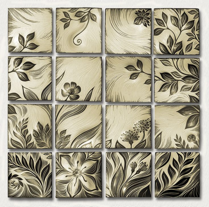Botanical, creme. Handmade, sgraffito-carved ceramic  wall tile by Natalie Blake   $6,400  #tileart