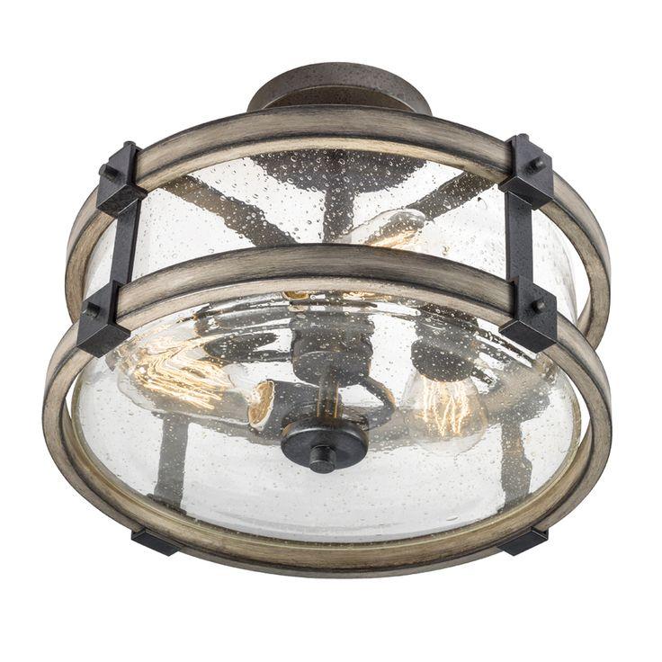 Kichler Lighting Barrington 14.02-in W Anvil Iron and Driftwood Clear Glass Semi-Flush Mount Light