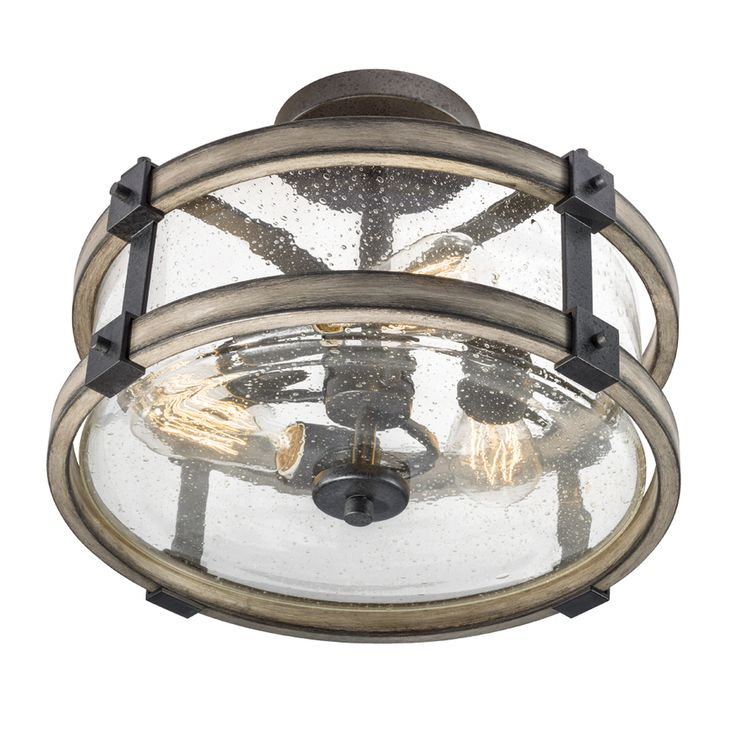 OMG YES!! Shop Kichler Lighting Barrington 14.02-in W Anvil Iron and Driftwood Clear Glass Semi-Flush Mount Light at Lowes.com
