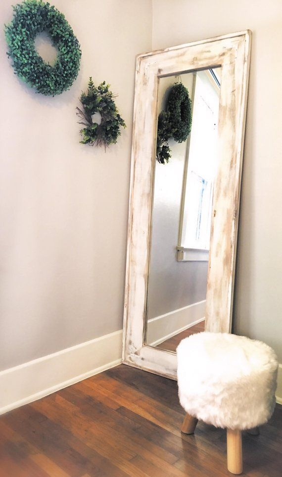 b3b8614a6a0b Full length mirror, White wash floor mirror. White distressed Full mirror.  Rustic full body mirror.
