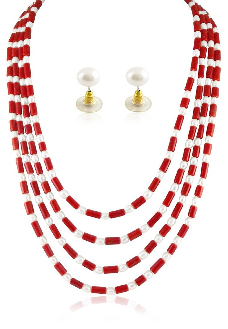 Jagdamba Pearls Red/ White Pearl String  http://www.jabongworld.com/red-white-pearl-string-1041066.html
