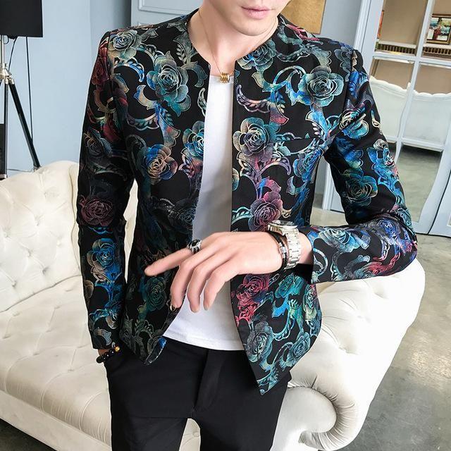 Sebaby Mens Punk Stage Clothing Hip Hop Blazer Jacket Party Show Suit