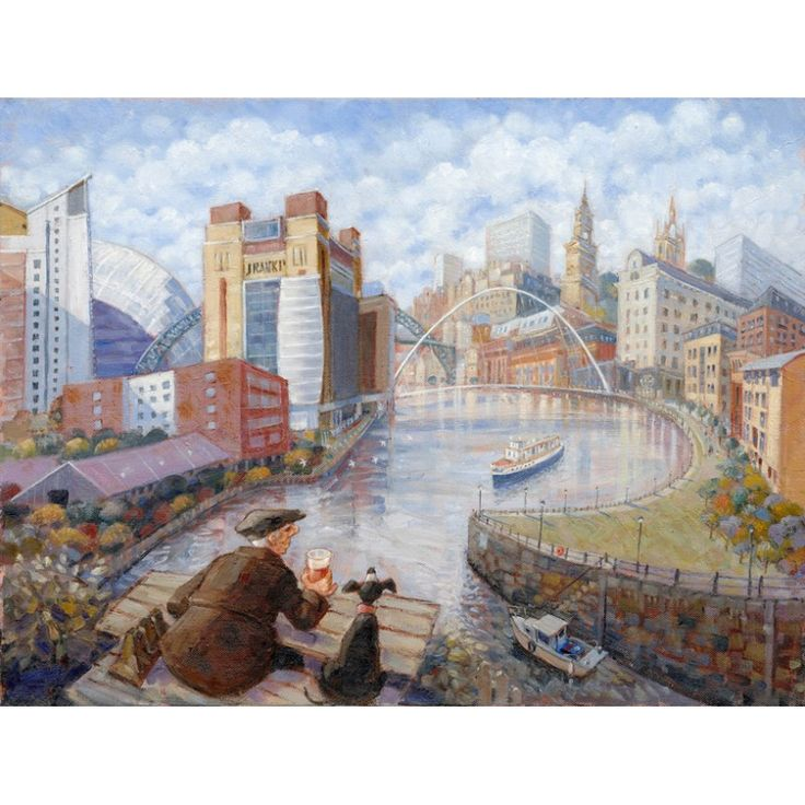 Canny Pint, Lovely View - Newcastle signed limited edition print by Edward Tibbs