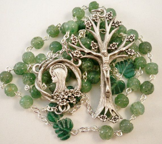 This beautiful Rosary was created using 6mm beads of carved green aventurine. Each little Ave (Hail Mary) bead