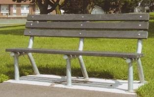 Item Number: PBG-6GRC24  6' Traditional Park Bench with Recycled Plastic Planks.  Stationary In Ground Mount.  Galvanized Frame.  Also available in Wood Planks, Pine Planks, Aluminum, Diamond Mesh Pattern, or Round Hole Pattern.  Painted Frame is also available.  6' and 8' lengths are available.