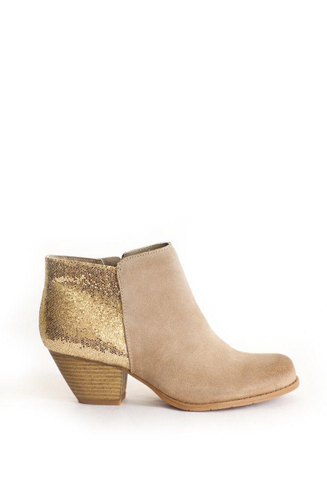 gold glitter booties