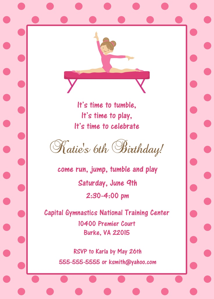 34 best gymnastics birthday party ideas images on pinterest gymnastics birthday invitation custom designed stopboris Choice Image