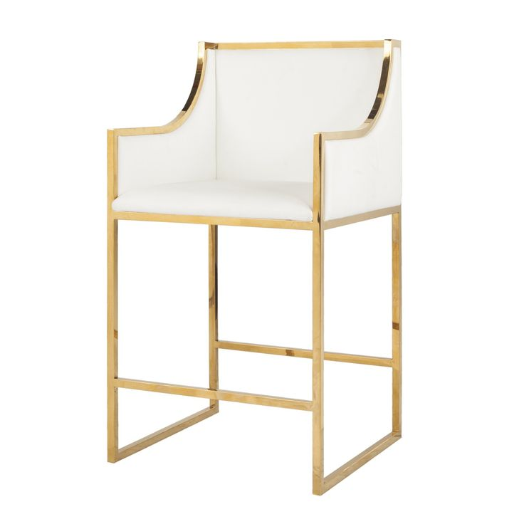 Worlds Away Hazel Brass Counter Stool in White - CURRENTLY ON BACKORDER - CALL FOR AVAILABILITY