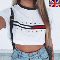 UK Womens Loose Pullover T Shirt Short Sleeve Cotton Tops Crop Shirt LADY Blouse