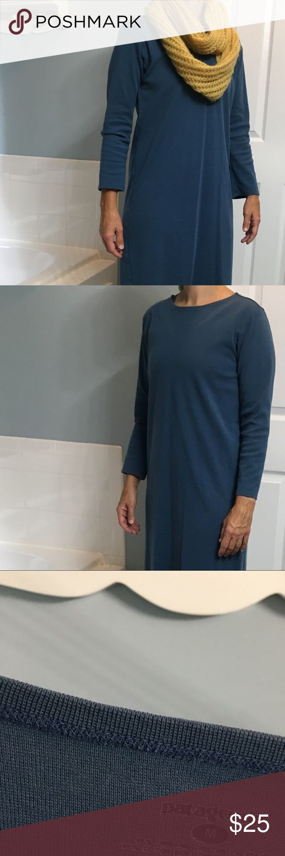 Patagonia dress Great casual dress by Patagonia. Cobalt blue, size Medium, 95% organic cotton, 5% spandex. Length 36 inches. Dress only. Boots will be listed for sale in my closet as well. Patagonia Dresses