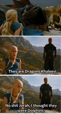 #GameOfThrone Ser Jorah They Are Dolphins, Khaleesi Meme | Game Of Thrones Memes and Quotes