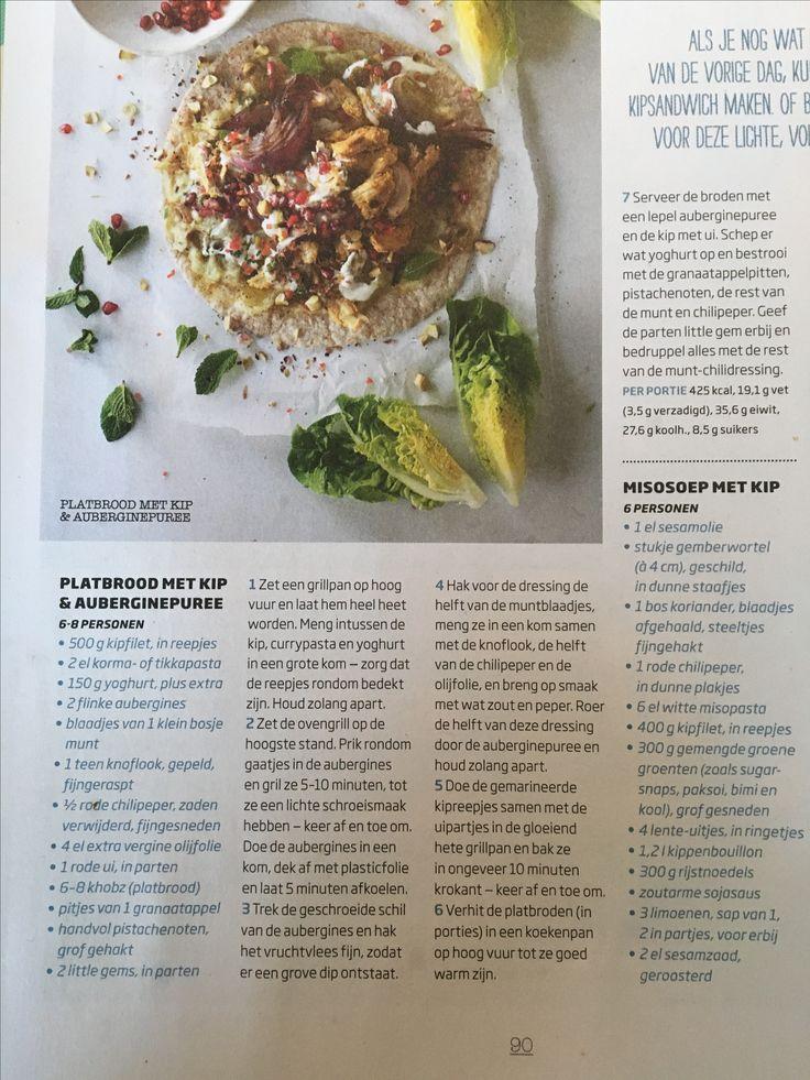Platbrood met kip & auberginepuree