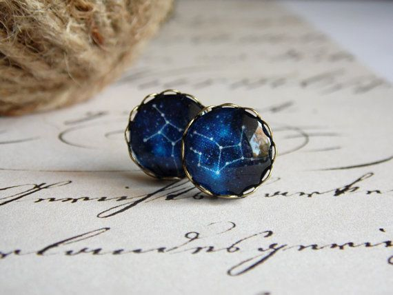 Constellation earring, bronze earring, stud earring, glass jewelry, virgo earring, zodiac stud, galaxy jewelry, blue stars