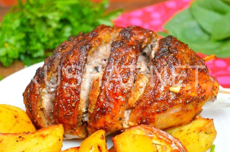 Голень индейки с картошкой в рукаве. Пошаговый рецепт с фото
