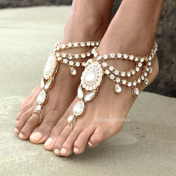 Jewelled gold barefoot sandals Women's flat door ForeverSoles