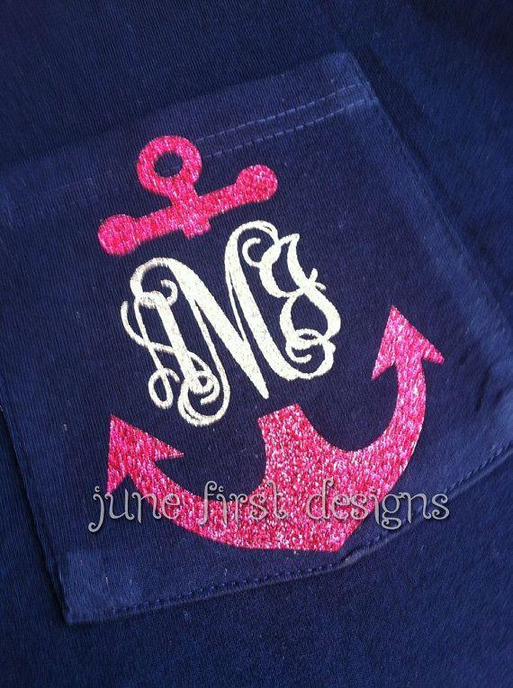 monogram pocket anchor glitter tee tshirt by junefirstdesigns   20 00