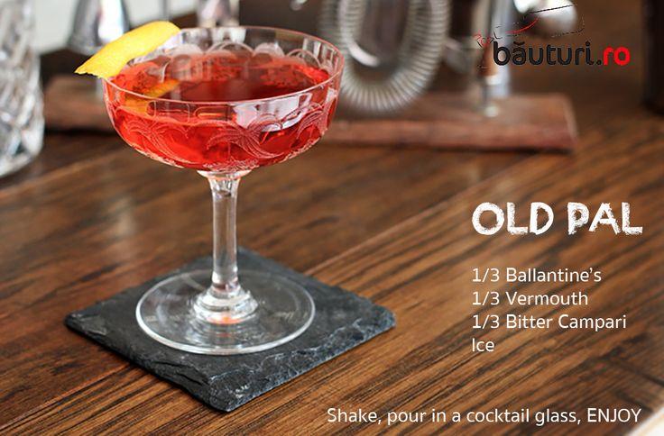 Ce vreme bună de un cocktail, nu credeți?  Ballantine's se găsește aici: https://www.bauturi.ro/whisky-ballantine-s/pret  Vermouth, tot pe băuturi.ro: https://www.bauturi.ro/bitter-vermut  Campari: https://www.bauturi.ro/lichior-campari/pret  Tot ce vă trebuie este paharul, gheață, voie bună și un partener. TAG cu cine ai bea un pahar de Old Pal.  #cocktails #cocktailuri #campari #whisky