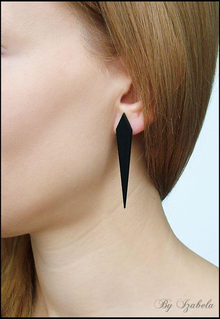 Black Post Earrings / Gothic Post Earrings / Goth Jewelry / Spear-shaped Earrings / Dark Earrings / Emo Earrings / Polymer clay post earring by ByIzabela on Etsy https://www.etsy.com/ca/listing/178702543/black-post-earrings-gothic-post-earrings